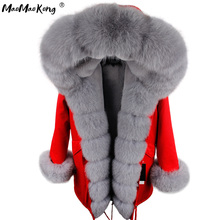 MAO MAO KONG Camouflage winter jacket women outwear thick parkas natural real fox fur collar coat