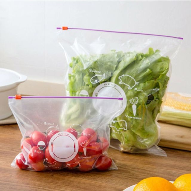 10pcs /Set Reusable Fresh Food Preservative Bag Zip -Locked Seal Sack Fridge Fruit Container