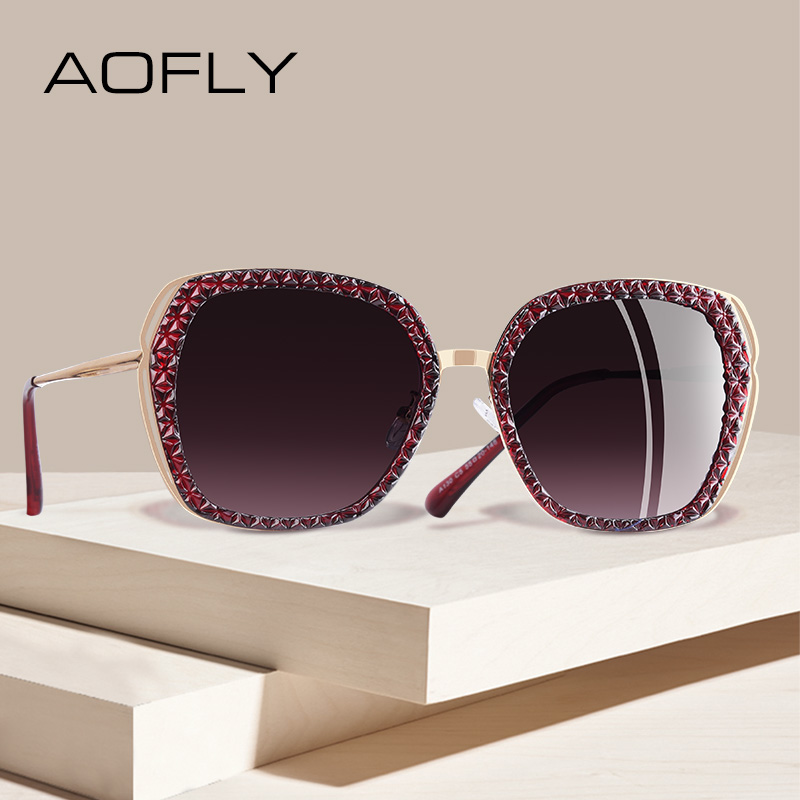 AOFLY BRAND DESIGN Women Sunglasses Polarized Sun Glasses Female Vintage Hollow Out Frame UV400 Oculos A130