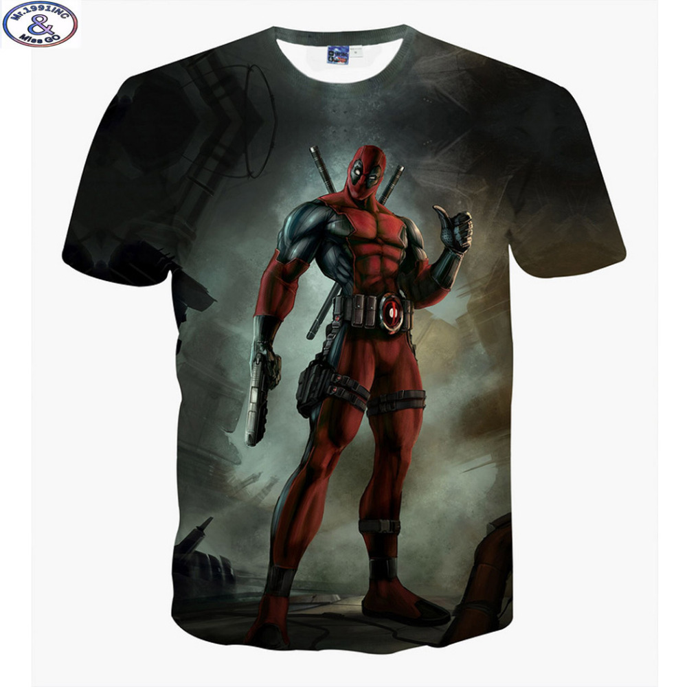 Mr.1991 newest arrive America Cartoon Anime Bad guys Deadpool 3D printed t-shirt boys big kids teens t shirt children's tops A12