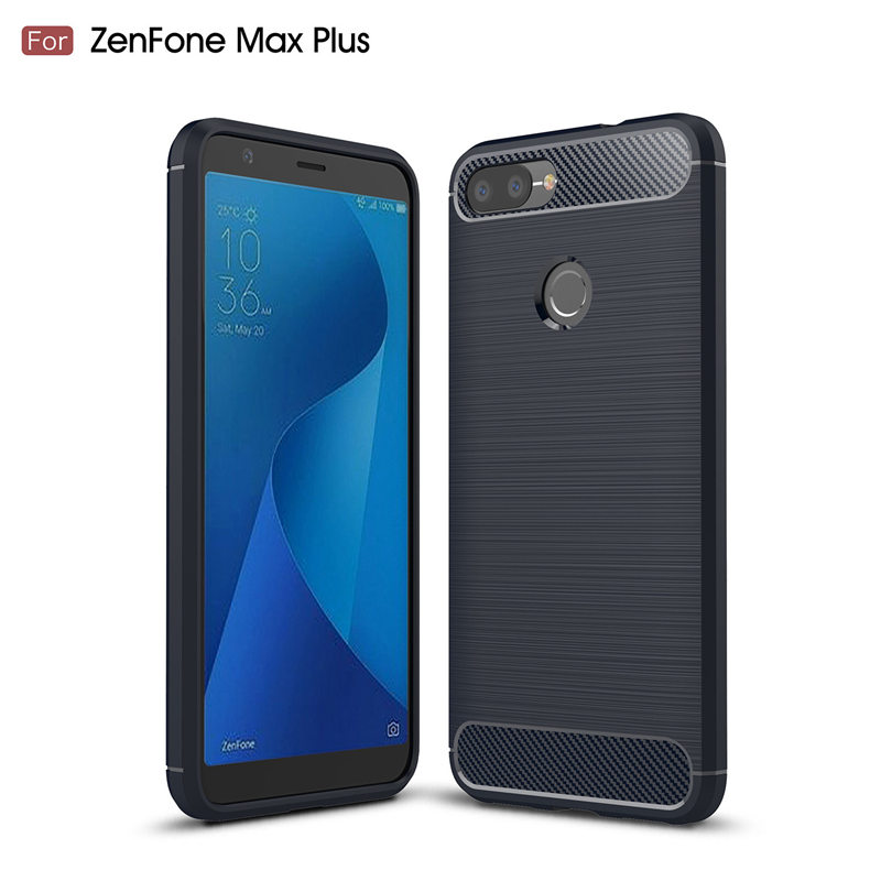 For Asus Zenfone Max Plus M1 ZB570TL 5.7 case Carbon Fiber TPU Back Cover For Zenfone 4 Max 3 ZOOM Live Soft Anti-Knock Coque