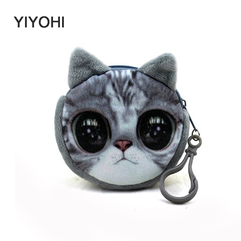 New bag accessories coin purse wallet ladies 3D printing cats dogs animal big face change fashion cute small zipper bag for gift