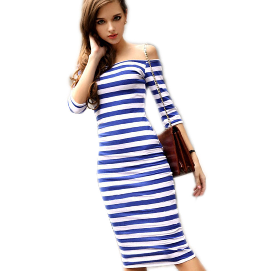 Sexy Women Summer Dress Stripes 2017 Midi Party Dresses Vestidos Half Sleeve Off Shoulder Bodycon Pencil Ukraine Dress Spring