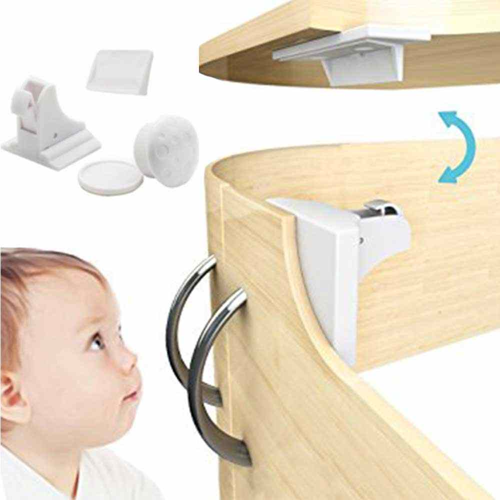 4 Locks+1 Key Magnetic Lock Child Protection Baby Safety Lock Drawer Latch Cabinet Door Locks Infant Security Magnetic Locking