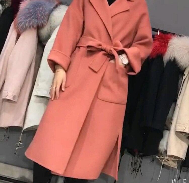 jaune Laine Double Automne Manteau Peignoir Beige Nouveau Et Pardessus Femmes X Style longue corail Face Femelle De 2018 Mode champagne rouge Laçage Coréenne Rouge Ceinture Hiver noir qgOxCww