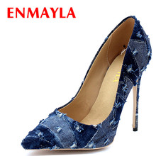 ENMAYER Denim Shoes Woman High Heels Pointed Toe Summer Pumps Party Wedding Shoe Slip-on Plus Size 34-43 Womens Pumps