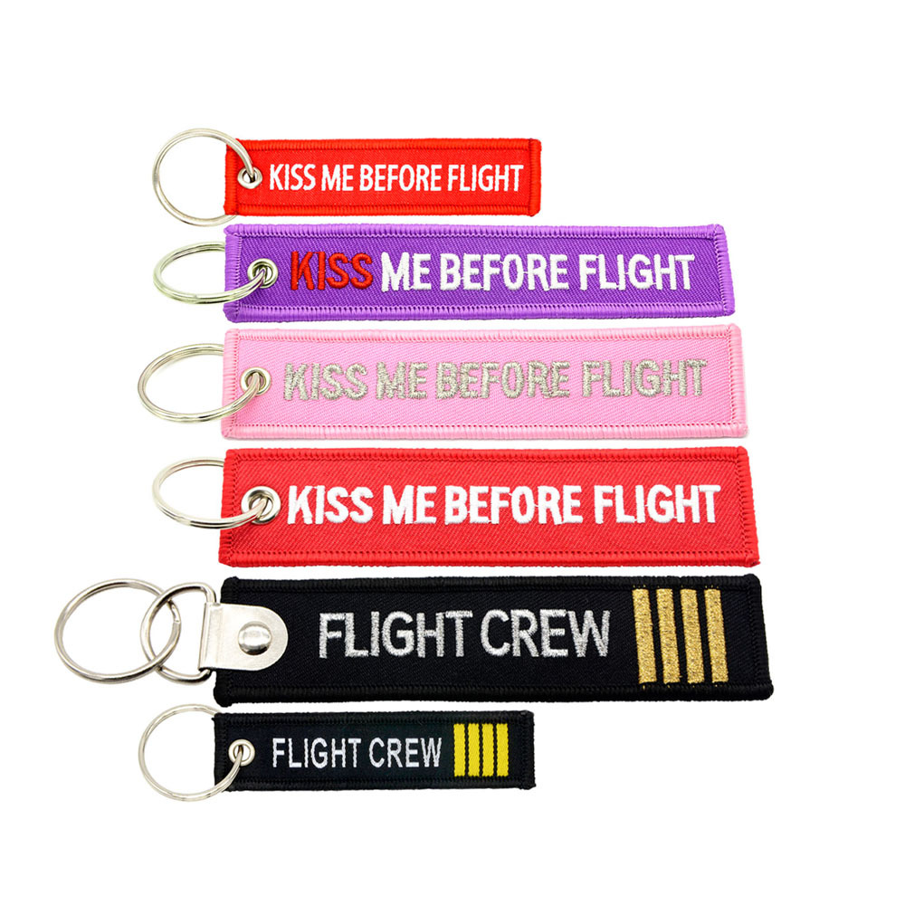 1piece Aviation gift KeyChain KISS ME BEFORE FLIGHT Key tag Duplex for motorcycle cars Key Chains Woven or Embroidery label