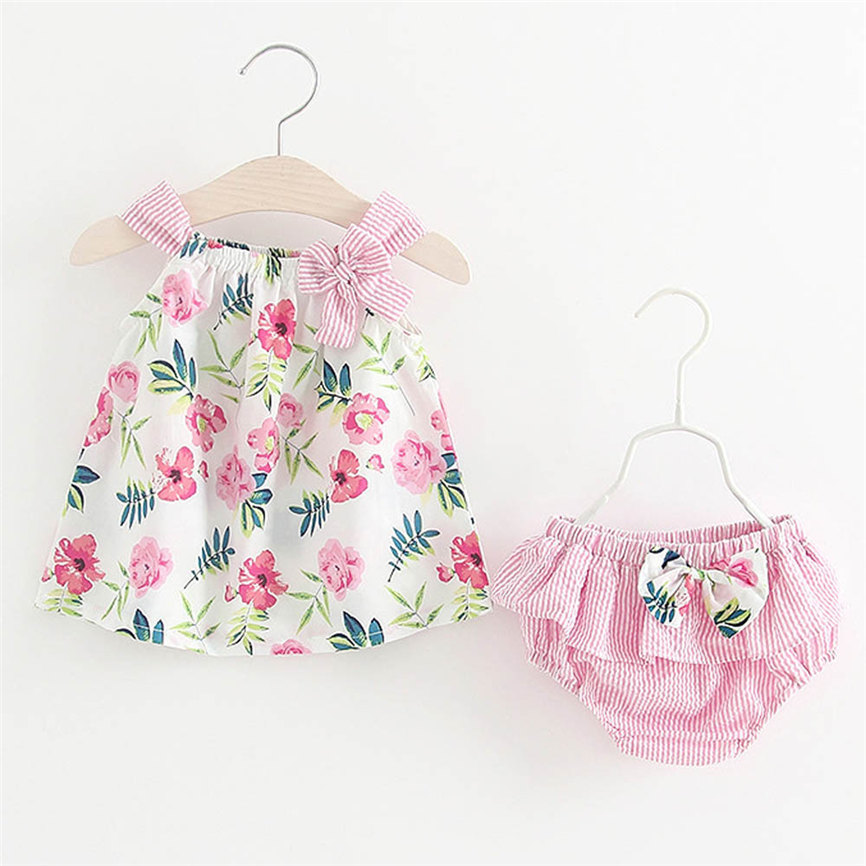 Fashion 2018 2Pcs Infant Baby Girls Floral Print Tops Vest+Striped Shorts Outfits Clothes Set Sports Suit For Girls Dropshipping