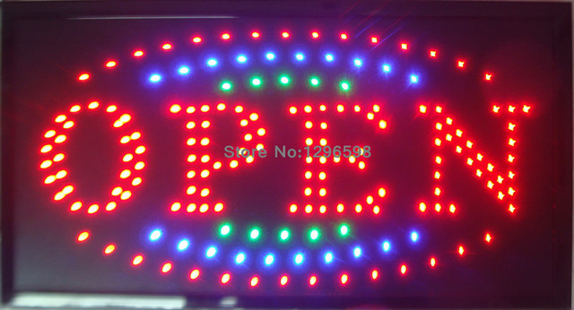 2016 New shop open sign direct selling led sign 10X19 inch semi-outdoor flashing custom led open signs