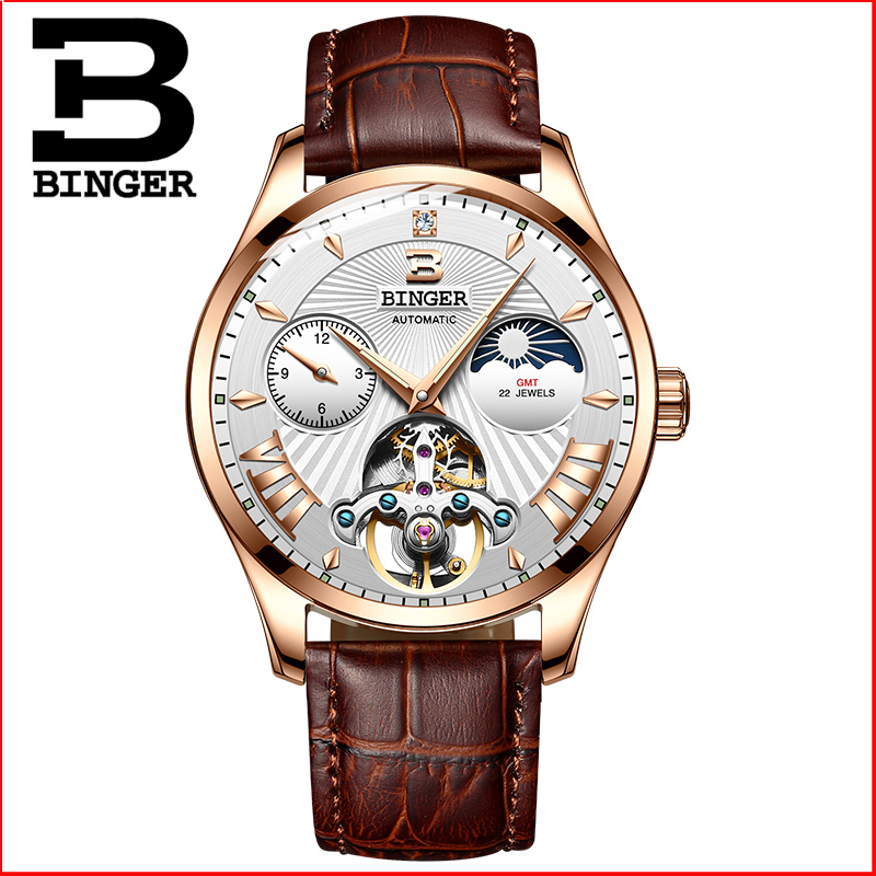 Switzerland Mechanical Watch Men Binger Role Luxury Brand Men Watches Skeleton Wrist Sapphire Men Watch Waterproof B-1186-6 wrist switzerland automatic mechanical men watch waterproof mens watches top brand luxury sapphire military reloj hombre b6036