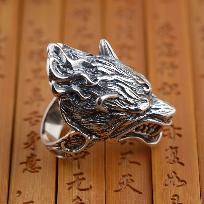 S925 wholesale sterling silver ring antique silver wolf retro style unique male style gift unique wolf head style zinc alloy car decorative sticker silver