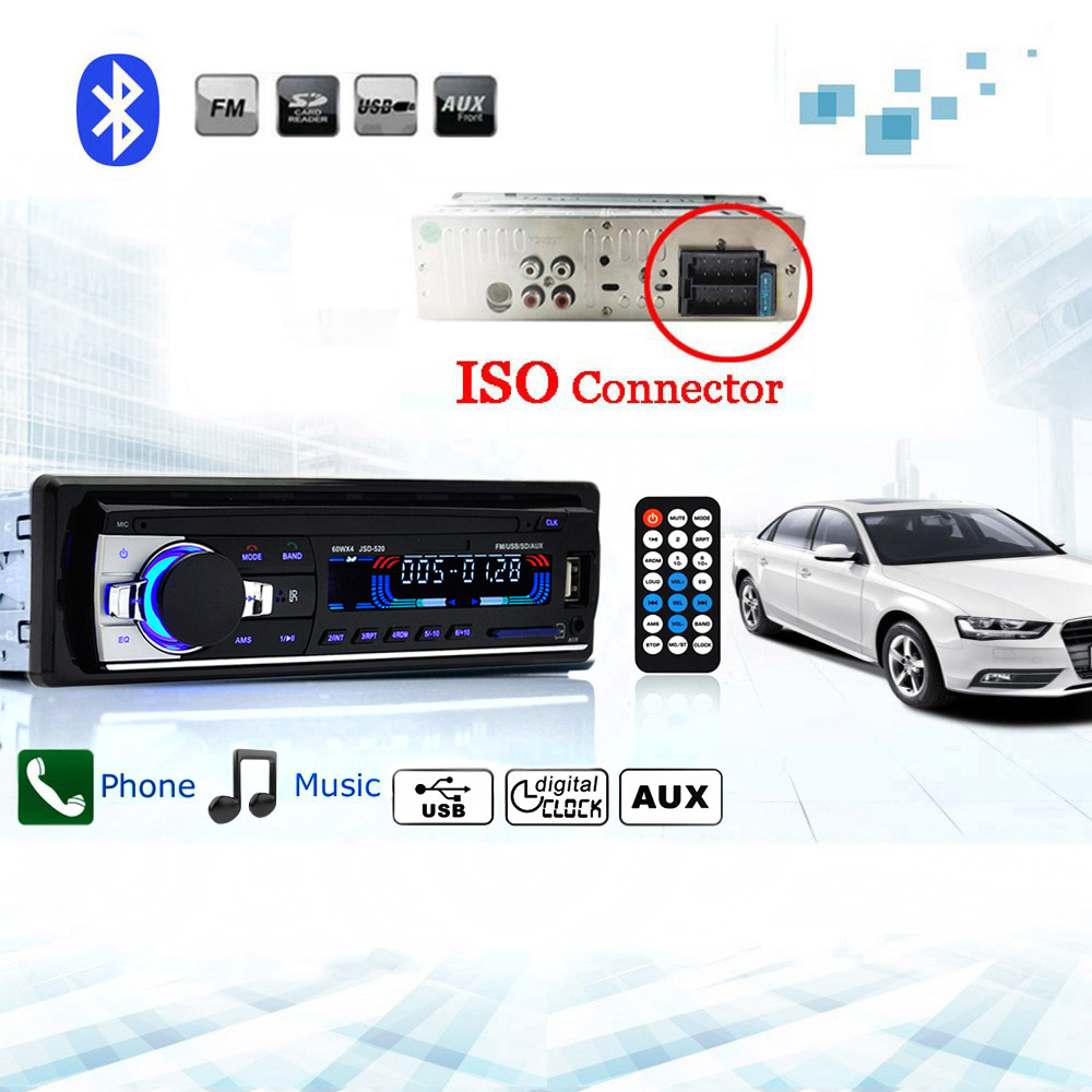 autoradio car radio jsd 520 12v bluetooth v2 0 car audio stereo in dash 1 din fm aux input. Black Bedroom Furniture Sets. Home Design Ideas