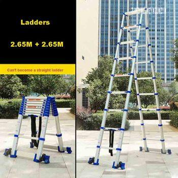 JJS511 Hohe Qualität Verdickung Aluminium Legierung Fischgräten Leiter Tragbare Haushalts 9 + 9 Schritte Teleskop Leitern (2,65 mt + 2,65 mt)