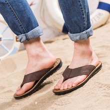 ZJNNK Cow Leather Men Beach Slippers Fashion Flip Flops With Soft Sole Trendy Breathable Easy To Match Men Summer Shoes