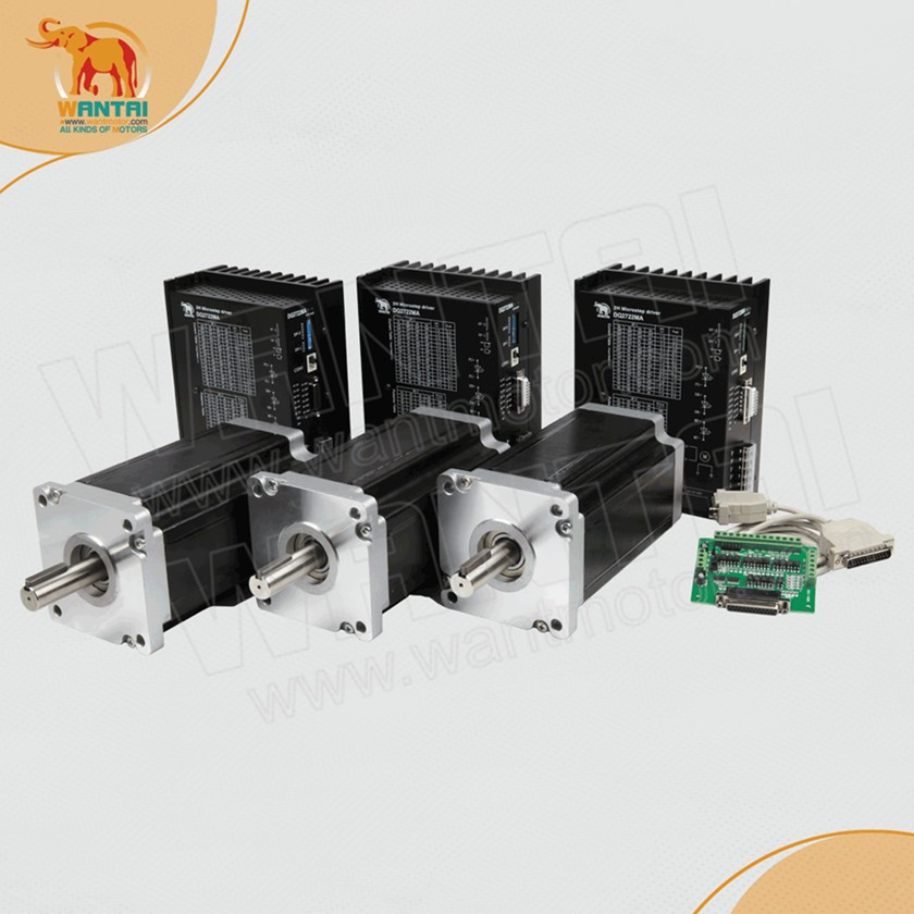 High Quality! CNC Wantai 3 Axis Nema 42 Stepper Motor 110BYGH201-001 4200oz+Driver DQ2722MA 220V 7.0A 300Micro CNC Router Kit wantai new sale cnc 3 axis nema 23 stepper motor 57bygh115 003 425oz in driver dq542ma 128mic 50v 4 2a engraving