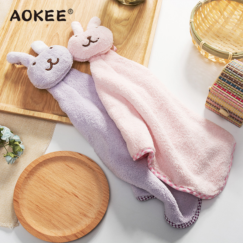 New Cute Cartoon Rabbit Creative Hand Towels AOKEE Kitchen Restaurant Hanging Wipe Towels Baby Kids Soft Nursery Rub Hand Towels