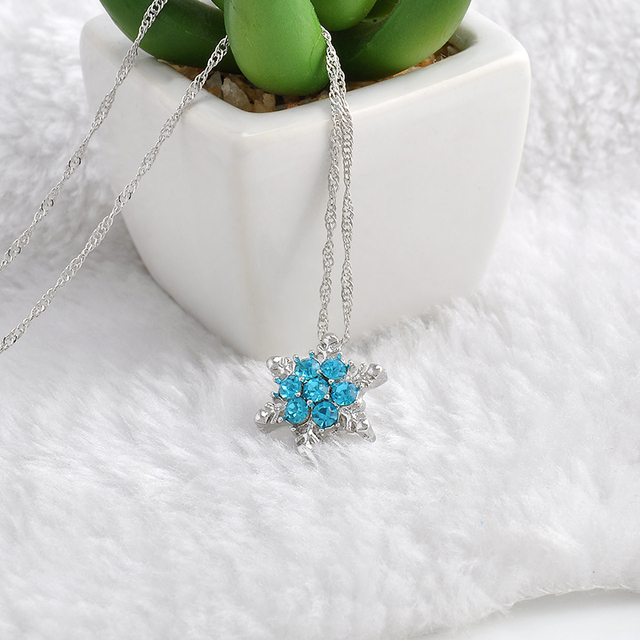 Charm Vintage Blue Crystal Snowflake Zircon Flower Silver Necklaces & Pendants Jewelry for Women