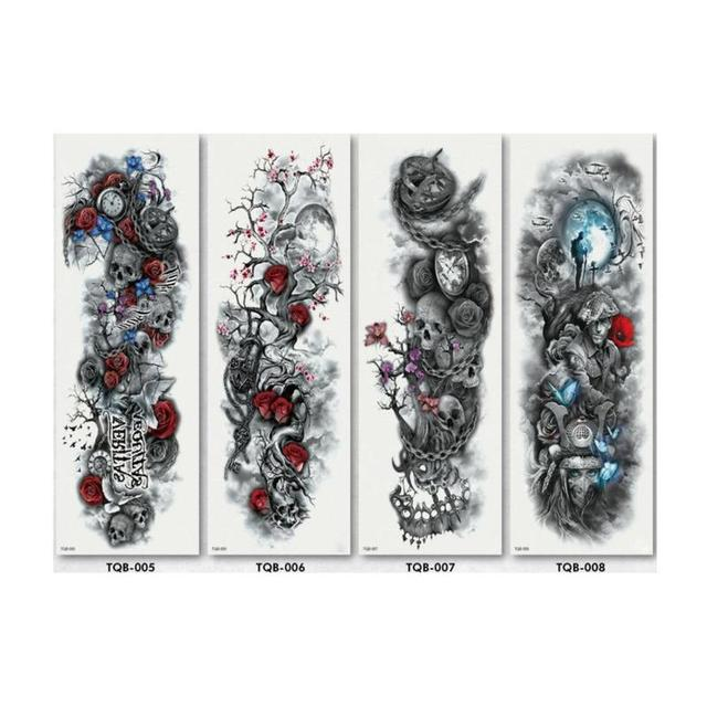 Full Flower Temporary Tattoo Sticker Arm Fake Tattoo Sticker Skull Lion Dragon Body Paint Waterproof Transfer Fake Tattoo Sleeve