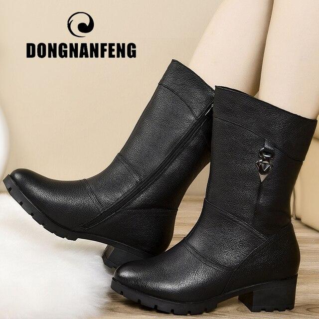 DONGNANFENG Mãe Genuína Sapatos De Couro Das Senhoras Das Mulheres do Sexo Feminino Botas Meados de Bezerro Zip Pele do Inverno Plush Quente Bling Plus Size 43 BH-662