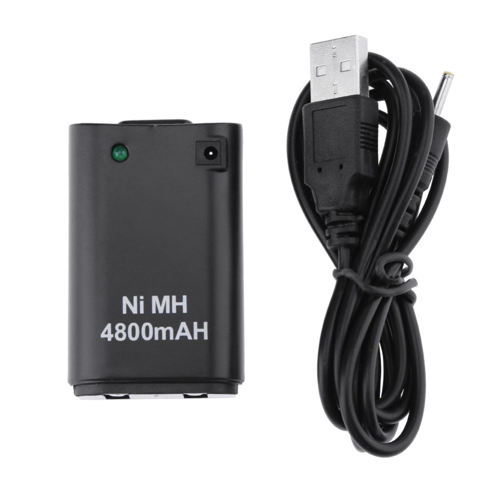4,800mAh Battery Pack+ Charger Cable for Microsoft Xbox 360 Wireless Controller with Indicator Light Game Controller Battery