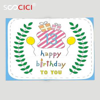 Custom Soft Fleece Throw Blanket 13th Birthday Decorations Pastel Colored Hand Drawn Cute Composition Leaves Gifts Balloons