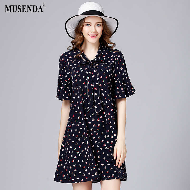 MUSENDA Women <font><b>Swallows</b></font> Print Bow V Neck Butterfly Sleeve A Line Dress 2017 Summer Sundress Lady Brief Fashion Dresses Plus Size