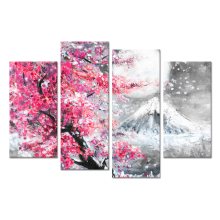 Home Decor Painting Canvas Print 4 Pcs Peak Of Mount Fuji With Pink Cherry Sakura Blossom Poster Modern Wall Art Bedroom Frame