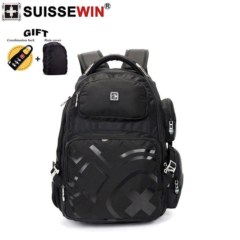 2019 nieuwe Zwitserse merk zwarte nylon stof 17 inch laptop rugzak grote capaciteit rugzak waterdichte tas voor mannen en vrouwen-in Rugzakken van Bagage & Tassen op  Groep 1