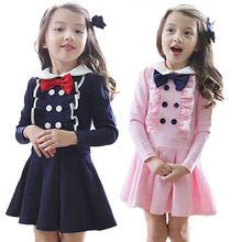 2-7 Year Kids Toddlers Girls Bowknot Dress Cotton Long Sleeve Tutu Dress pink dark blue