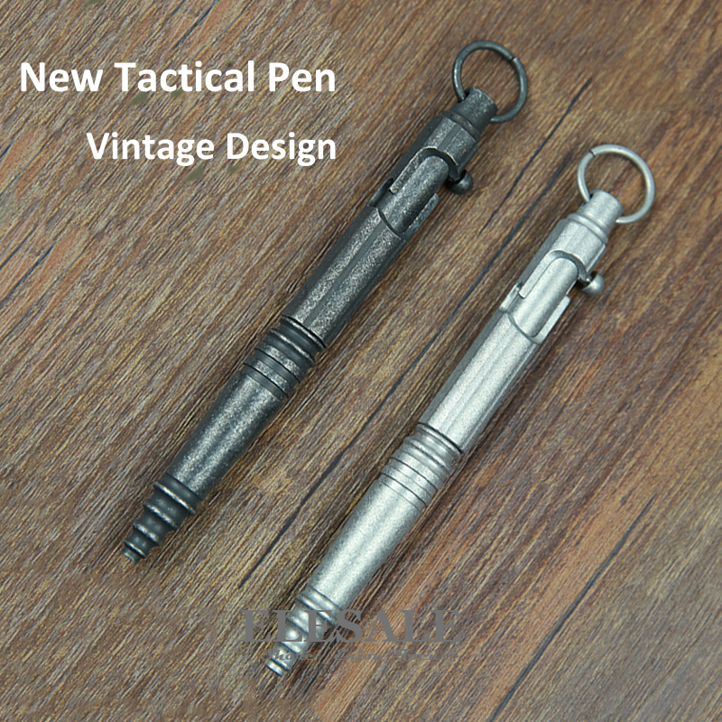 New Stainless Steel Tactical Pen Vintage Design Pen Bolt Switch  etro Ball Point Pen Self Defense Supplies EDC Tool Gift new stainless steel tactical pen with led light for self defense emergency glass breaker edc tool ball point pen gift box