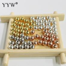 1Lot 925 Sterling Silver Beads 2.5 3 4 5 6 7mm Round Gold Rose Color Shinny Loose for Jewelry Making Wholesale