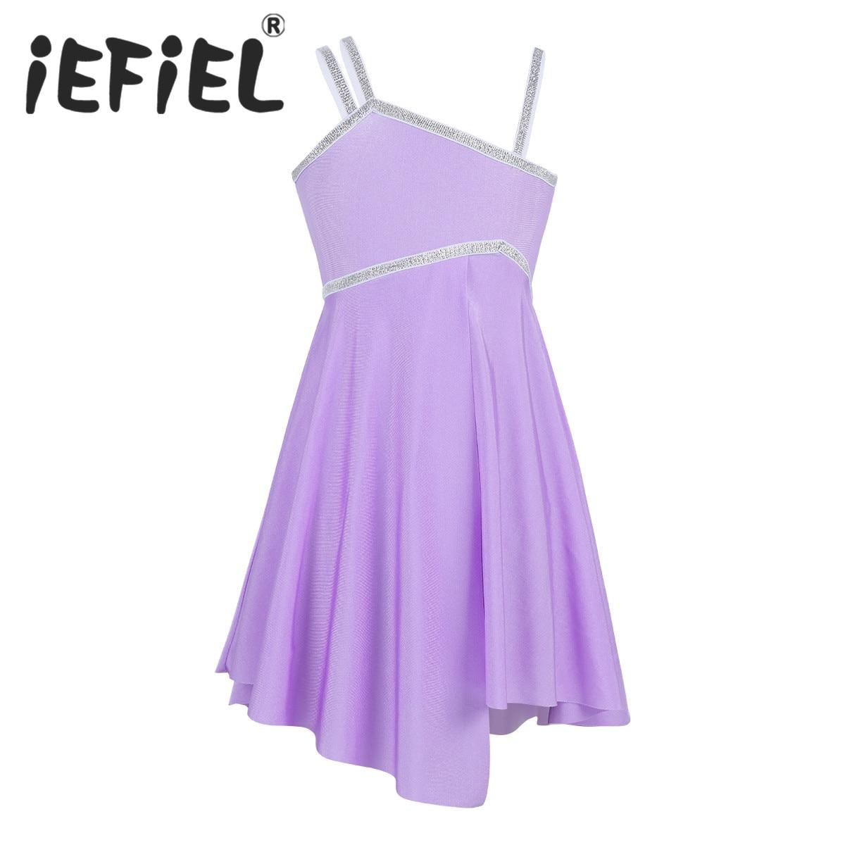 iEFiEL Cute Kids Girls Asymmetrical Shoulder Shiny Ballet Dance Gymnastics Leotard Dress Latin Jazz  Stage Performance Costume