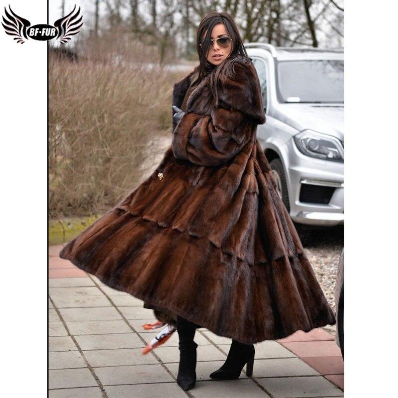 BFFUR invierno mujer Abrigos 2018 piel genuina mujeres abrigo Real de piel de visón más tamaño completo Pelt Turn-down collar de moda Falda larga