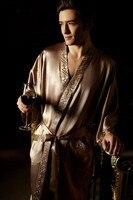 100% чистый 19 мм шелк для мужчин пижамы кимоно халат человека Пижамный халат размеры L, XL, XXL