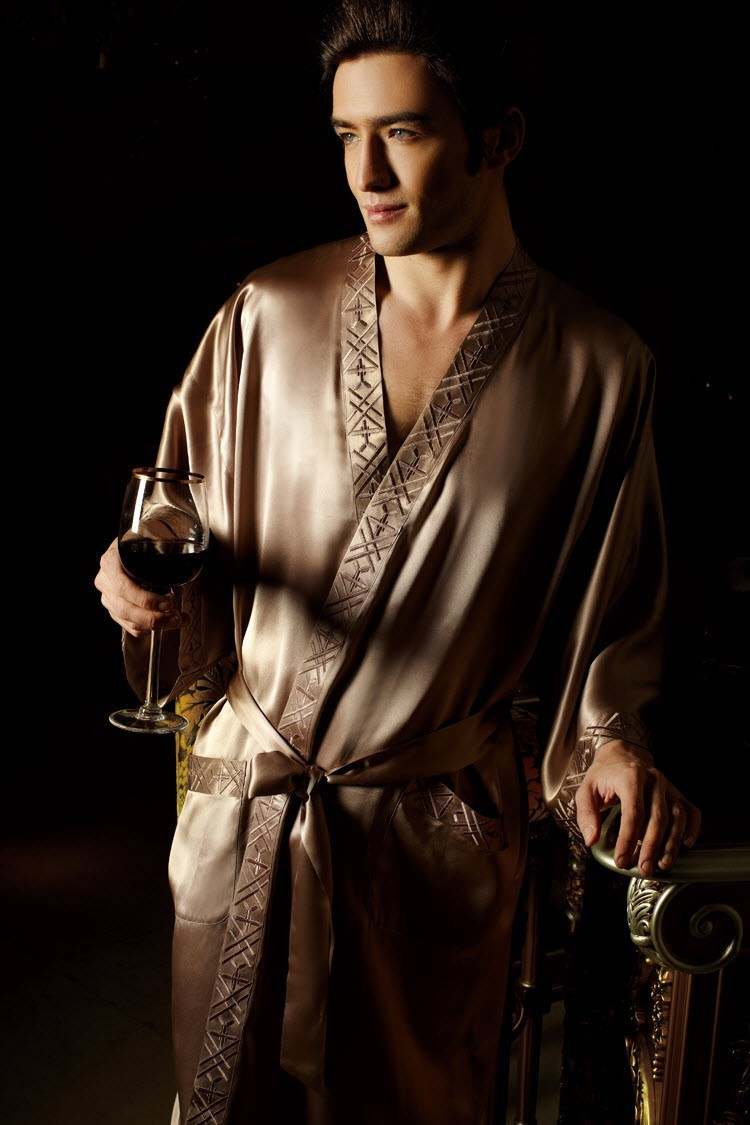 100% Pure 19MM Silk Men Sleepwear Kimono Robe Mans Pajama Robe Bathrobe Size L XL XXL