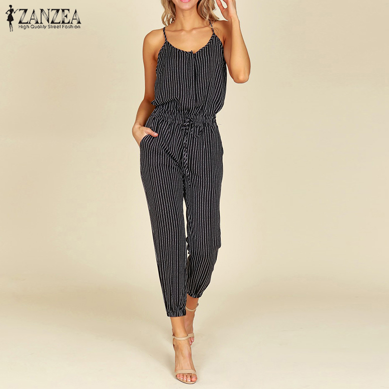 4a5529d28a1 2018 Summer ZNAZEA Elegant Striped Slim Pencil Overalls Work OL Long Jumpsuits  Women Casual Strappy V