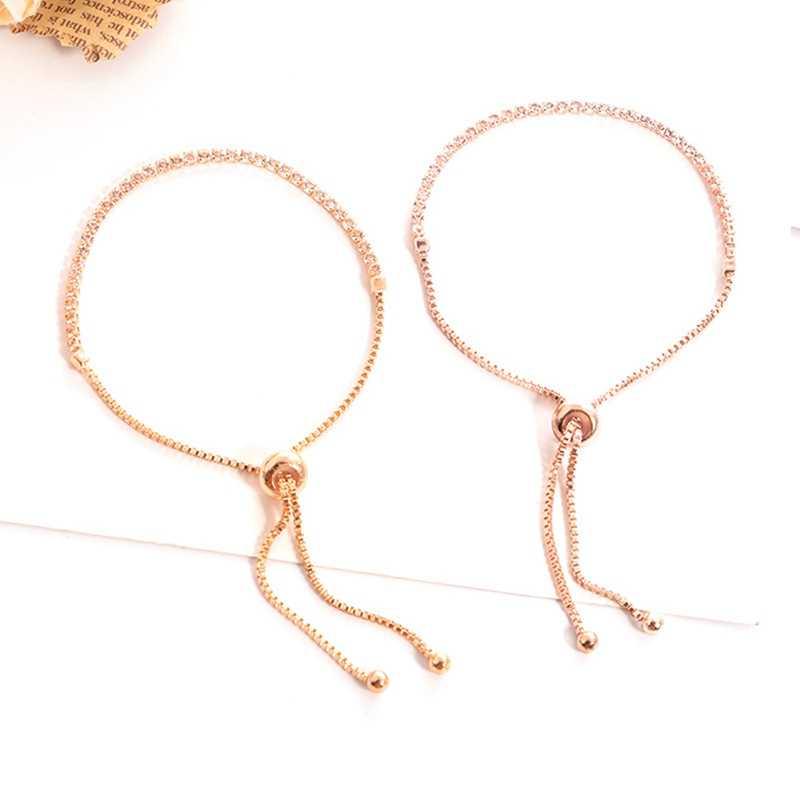 מעודן גליטר קריסטל זהב כסף רוז זהב צבע צמיד מתכוונן פשוט צמידי תכשיטי חתונה מסיבת חם מתנה