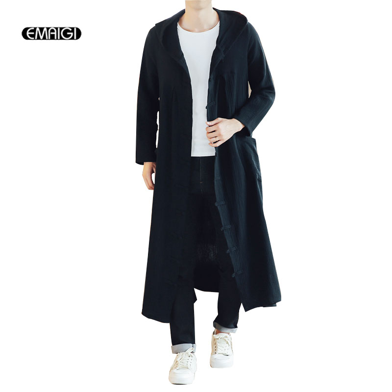 EMAIGI Men Long Casual Hooded Trench Coat Spring Autumn Male Loose Hoody Cardigan