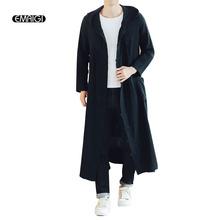 Mężczyźni długi casual Bluza z kapturem trencz wiosna jesień mężczyzna luźne Bluza z kapturem Cardigan kurtki płaszcz płaszcz tanie tanio Wykopu Stałe Konwencjonalnych Poliester bawełna Linen Polyester Single breasted Sukno Regularne Chiński styl Standardowych