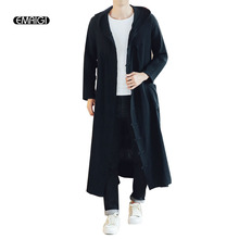 Men Long Casual Hooded Trench Coat Spring Autumn Male Loose Hoody Cardigan Jacket Outerwear Overcoat cheap Solid Conventional Polyester Cotton Linen Polyester Single Breasted Broadcloth Regular Chinese Style Standard None Full