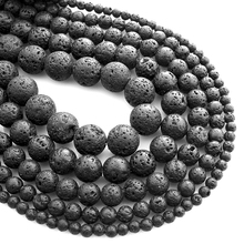 Round Beads Black Volcanic Lava Charms Bracelet DIY Beads for Jewelry Making Hot Natural Stone Beads Making Berloque Size 4-12mm