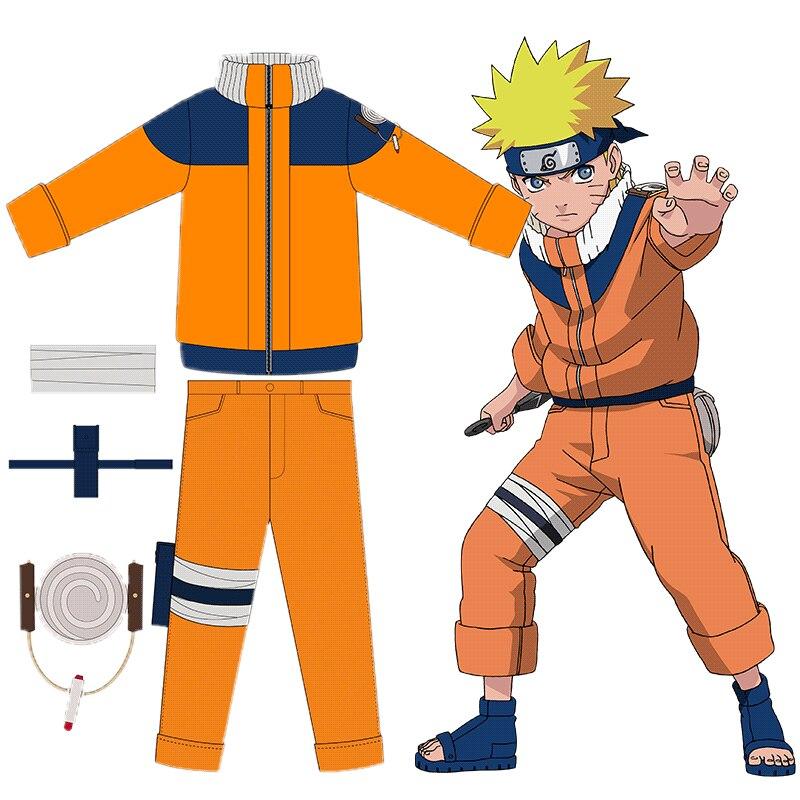 High Quality New Uzumaki Naruto Cosplay Costumes Kids Child Fancy Ball Party Include Tops + Pants + Leggings + Kunai Bag Suit