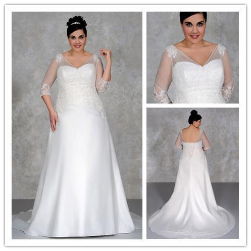 3 4 sleeve V-Neck appliques long bridal gown vestido de novia plus size  romantic plus size wedding dress 2015 NT-096 a5c097c70feb