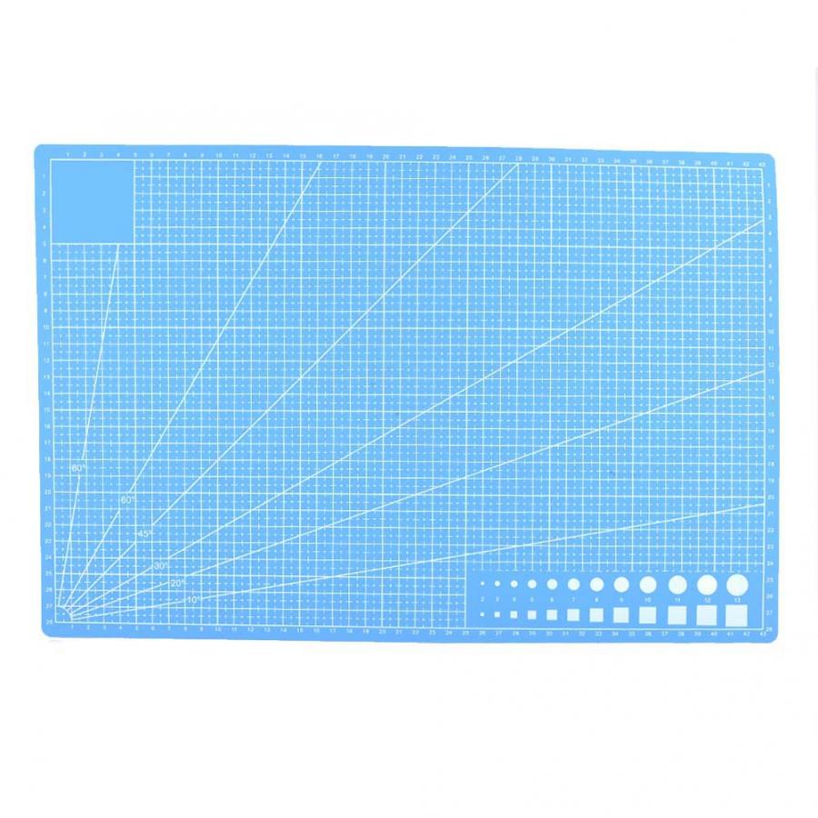 Sky Blue A5 Grid Lines PVC Cutting Mat Self-healing Paper Leather Fabric