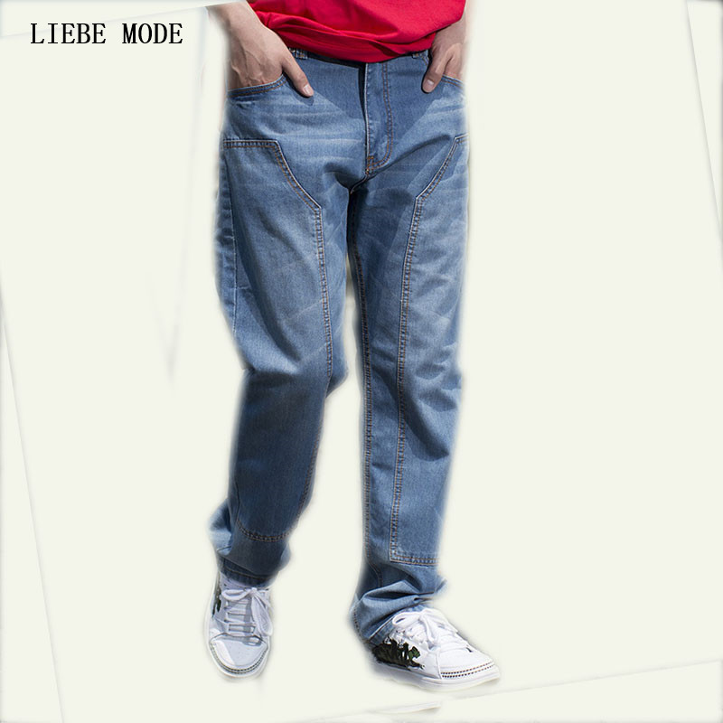 Fashion Blue Jeans Big Men Hip Hop Baggy Jeans Straight Loose Fit Men's Jeans Classical Skateboard Pants Large Size 42 44 46 hot new large size jeans fashion loose jeans hip hop casual jeans wide leg jeans