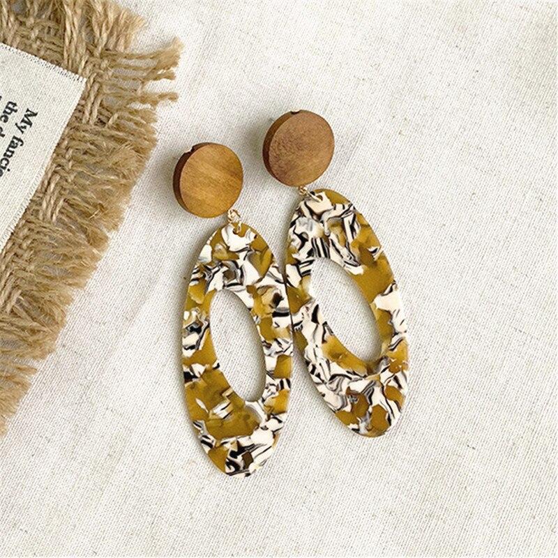 Popular Acrylic Resin Crack Geometric Oval Acetic Acid Earrings Grain Earring Wood Women Red yellow Ear jewelry Wholesale