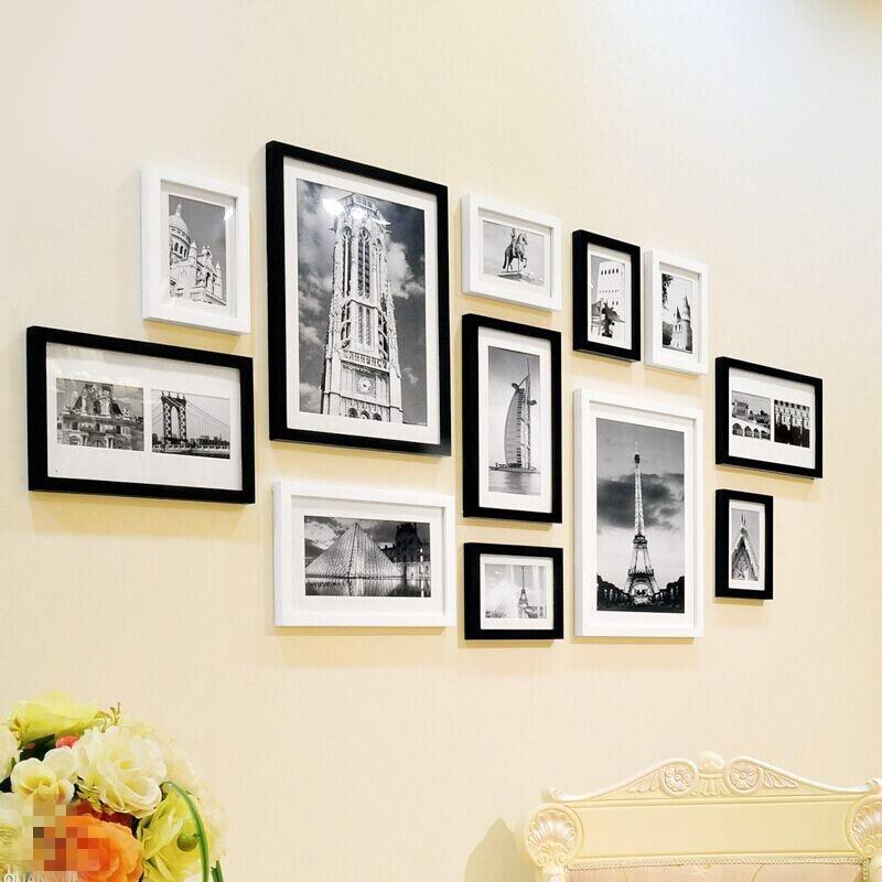 Fashion Black White Picture Frames Set Brand Decor Wooden Photo Frames 12 pcs set Wall Hanging