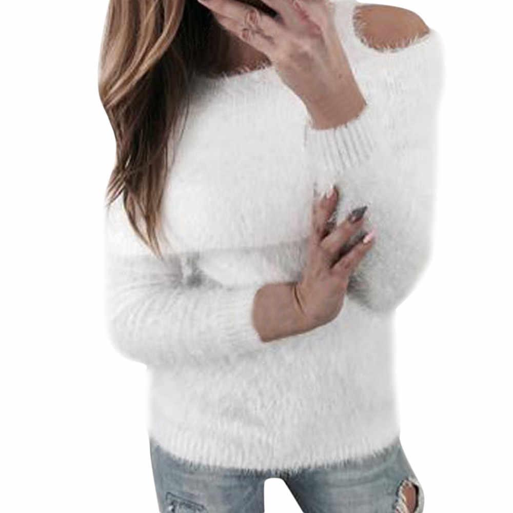 Nueva moda Jersey de punto jersey para mujer Otoño Invierno suéteres de hombro frío y pulóveres delgados de felpa mullida jh0411