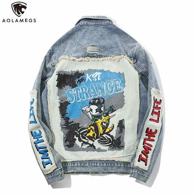 Aolamegs デニムジャケット男性かわいいプリントカウボーイ男性のジャケットカジュアルハイストリートファッション原宿生き抜く男性コート春のストリート