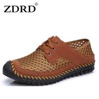 ZDRD Alta Calidad Hombres Del Cuero Genuino de Ocio Plana Primavera Formal Casual Zapatos Planos de Los Hombres de Red Transpirable Hollow Casual zapato